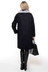 Прямое пальто с отделкой мехом кролика арт.102